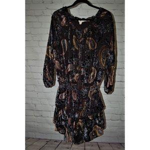 Long Sleeve Multi Color Velvet Dress